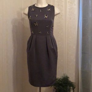 Eliza J Jeweled Rhinestones Sleeveless Gray Dress